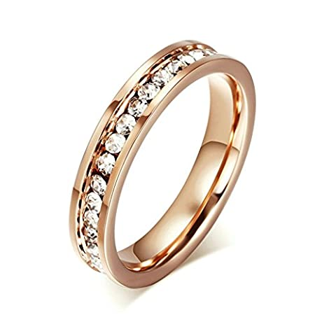 Beydodo Stainless Steel Rings For Womens(Wedding Bands),Eternity Love Channel Set CZ Rose Gold Size R 1/2
