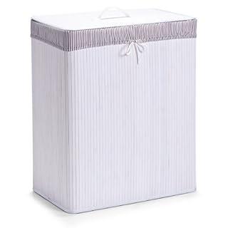 Zeller 13415 Panier à linge à 2 compartiments banbou, blanc, 52 x 32 x 63 cm