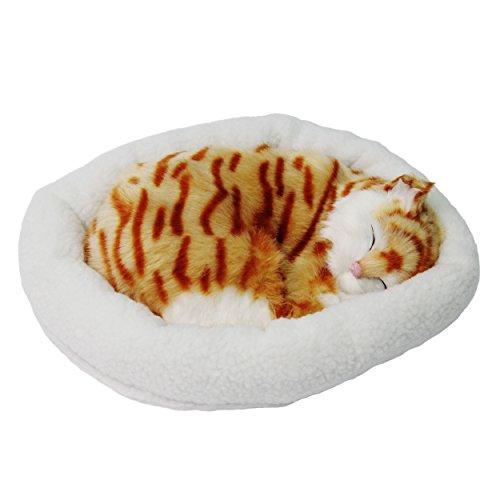 Gatto/cane giocattolo che dorme e simula la respirazione con letto in lana