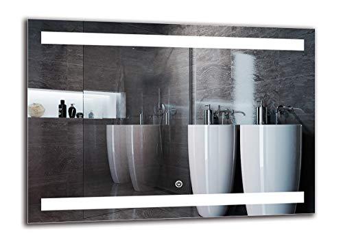Espejo LED Deluxe - Dimensiones del Espejo 70x50 cm - Interruptor tactil - Espejo de baño con iluminación...