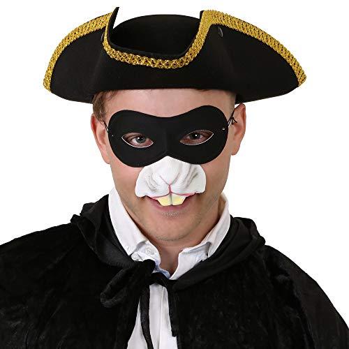 ILOVEFANCYDRESS RÄUBER RATTEN KOSTÜM VERKLEIDUNG Zeichentrick = Piraten Hut+GUMMINASE+Augenmaske=Fasching Karneval
