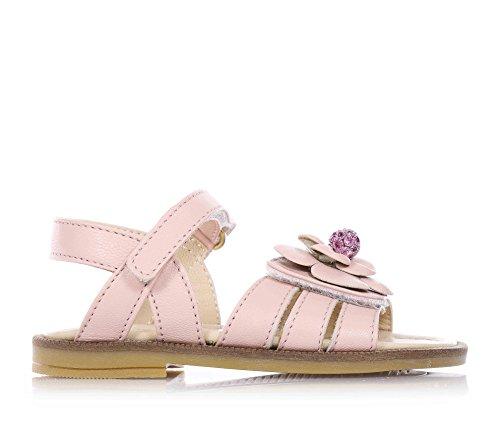 FLORENS - Sandalo rosa in pelle, con chiusura a strappo, fiore applicato sulla fascia anteriore, sottopiede in pelle e suola in gomma, Bambina, Ragazza-24