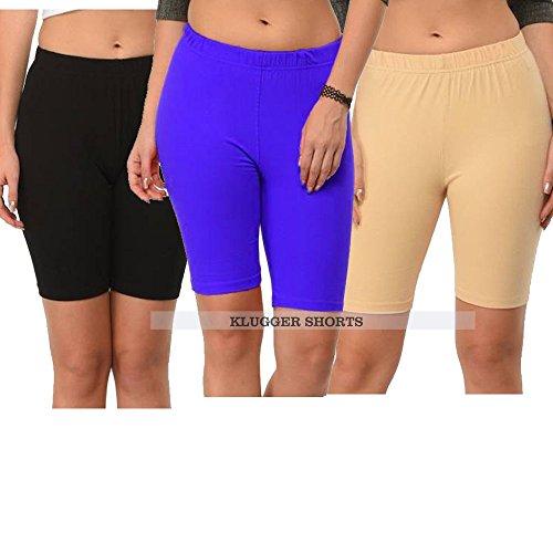Klugger Trendy soft & Comfortable Bio-wash Cotton Lycra Cycling Shorts/Yoga pant/Jogging Shorts (pack of-3) Black,Blue,Skin