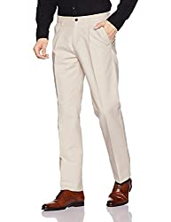 Arrow Sports Mens Straight Cotton Casual Trousers (ARGT5137B_Beige_32W x 34L)