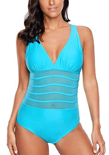 b05ea29626c6 Aleumdr Mujer Traje de Baño Cuello V Bañador de una Pieza Bañador Sin Aros  para Mujer Azul Size XXL