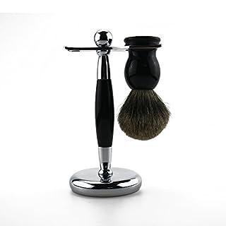 Abimars Traditional Shaving Set Badger Hair Brush and Chrome Razor Stand Handle Kit ideal for Men's/Dad/Son/Boyfriend Wet Shaving Christmas Birthday Gift - Black