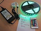 5m 5050RGB 60LED/m wasserdicht Muti (Zulu) Farbe LED-Lichtleiste + Fernbedienung + PSU