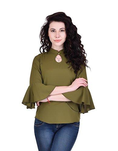 STOP LOOK Women's Crepe Slim Fit Top (Multicolour, Medium)