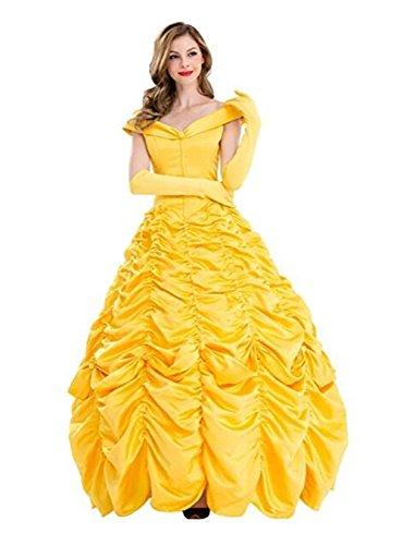 Damen Kleid Golden Cosplay Erwachsene Halloween Fasching Kostüm (XL) (Belle Aus Die Schöne Und Das Biest Kostüm Für Erwachsene)