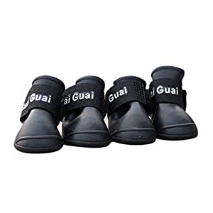SODIAL(R) 4 x Bottes de pluie Chaussures impermeables de protection en caoutchouc pour les chiens, M, NOIR