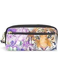 c4ac20b7b5 Cpyang Pencil Case Animal Tiger Tropical Flower cuoio matita bag zipper Pen  Pouch Holder studente cancelleria