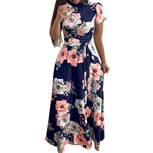 FeiBeauty Damen Kurzarm Floral Kleider,Kurze Ärmel Retro Boho Maxikleid Rundhals Party Maxikleid Casual Strand Maxi Kleid -