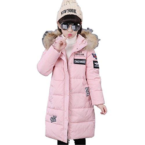 DorkasDE Mädchen Winterjacke Kinder Wintermantel Steppjacke Baumwollgefuetterte Mantel mit Fellkapuze