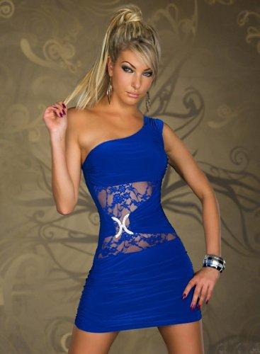One-Shoulder Spitze Minikleid Super Edel Kleid Applikation Mit diesem Kleid stehen Sie im Mittlepunkt Robe Dress Blau