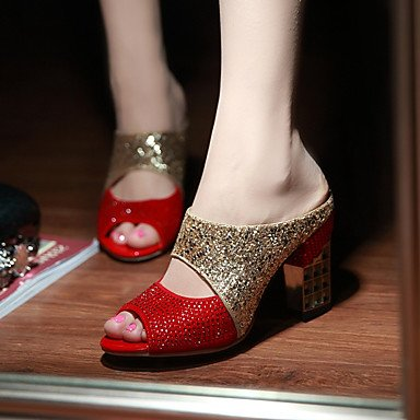 Sandali Primavera Estate Autunno scarpe Club Glitter Party & abito da sera Casual Chunky Heel Sequin Nero Rosso US10.5 / EU42 / UK8.5 / CN43