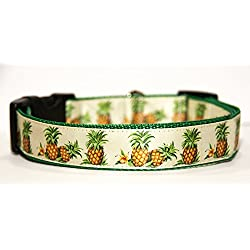 Piñas Pineapples Collar Perro Hecho a Mano Talla L con Correa Multiposicion a juego Dog Collar HandMade
