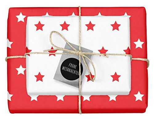 """4x zweifarbiges Geschenkpapier\""""Weihnachten: Sterne rot-weiß\"""" + 4x Anhänger\""""edel, silber-schwarz\"""" (doppelseitige Bögen DIN A2, Öko-Recycling-Papier)"""