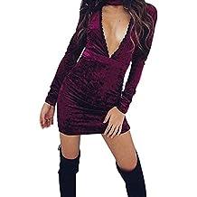 Femme Robe de velours sexy mince col en V genou longue robe de cocktail coup de cou à manches longues robe moulante