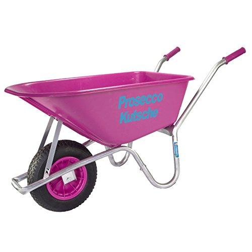 TrutzHolm® Schubkarre Pink Proseccokutsche PP 100 l Bau Karre Gartenschubkarre Bauschubkarre Schiebkarre Garten