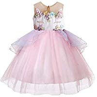 CQDY Girls Unicorn Costume Dresses Tulle Tutu Dress Christmas Cosplay Wedding Birthday Party Carnival Gown Performance Photo Shoot Fancy Dress Costume