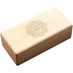Bloque de madera para Yoga, de haya, antideslizante 23x11x7 cm (color natural)