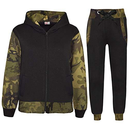 A2Z 4 Kids® Kinder Trainingsanzug Mädchen Jungen Designer Plain Kontrast - T.S Plain 101 Camo Green 11-12
