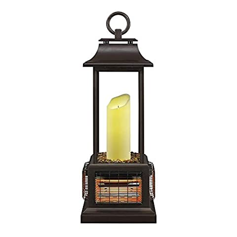 PowerHeat Weather-Resistant 2-in-1 Outdoor Patio LED Electric Candle Lantern and Heater