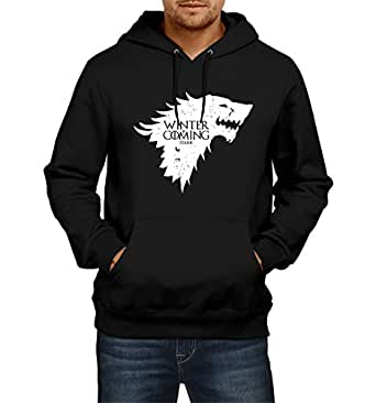Fanideaz Mens Fullsleeve Cotton Winter is Coming Wolf Game Of Thrones Premium Hoodies Sweatshirt Pullover Jacket_Black_S