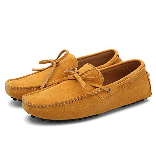 Baymate Unisexe Loafers Chaussures à Enfiler Chaussures Bateau Pour Conduite Jaune