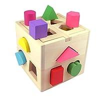 Building Blocks, Intelligence Box for Shape Sorter, Cognitive and Matching Wooden Building Blocks Eductional Toys for Kids Children Sorting Toys Wooden Blocks for Kids