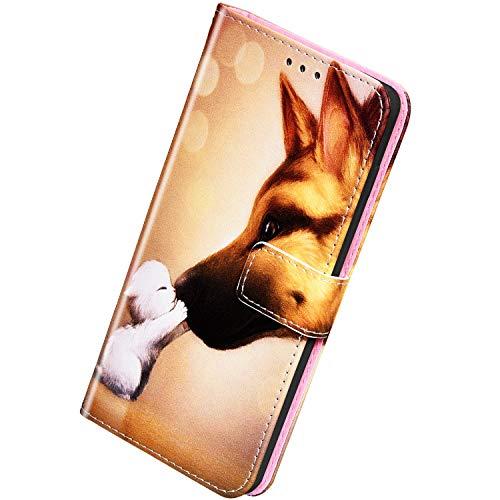Herbests Kompatibel mit Huawei Honor 9X / 9X Pro Handyhülle Hülle Flip Case Bunt Muster Leder Tasche Schutzhülle Klappbar Bookstyle Lederhülle Ledertasche mit Magnet Kartenfach,Hund