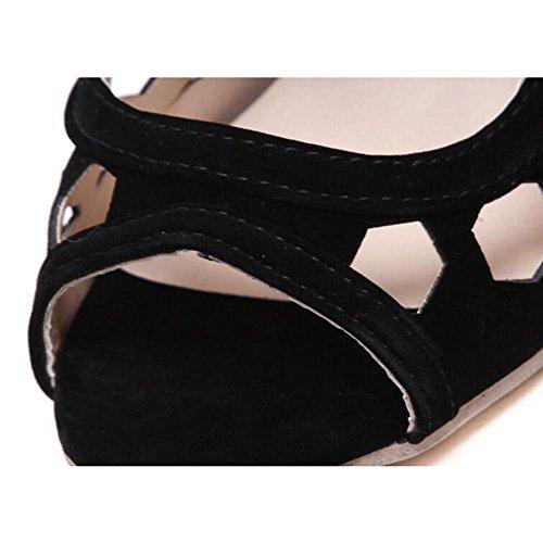 L@YC Tacchi donne Pesce Primavera Estate Hollow sandali Nero Black