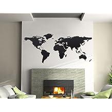Bilderdepot24, Adesivo decorativo da parete, motivo: Planisfero, 144 x 59 cm