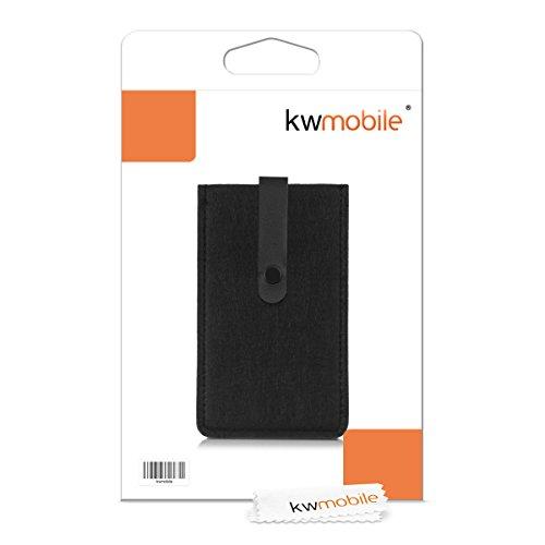 kwmobile Edle Filztasche mit Kunstlederlasche für Smartphones in Grau Schwarz
