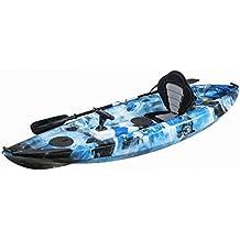 KAYAK DE PESCA 295x78x35 cm AZUL CAMO | Canoa equipada con asiento, 2 tambuchos y remo de aluminio, 2 cañeros fijos y un cañero direccional 360º