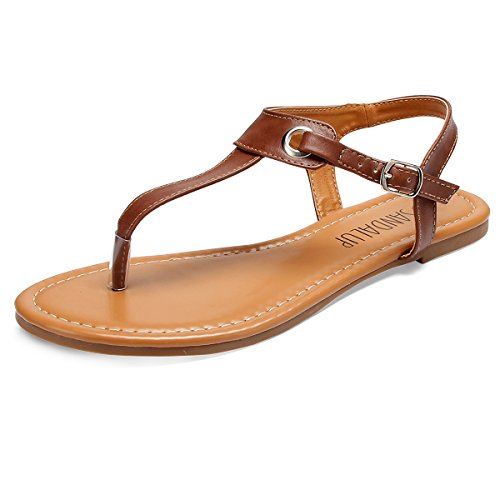 SANDALUP Metall-Elemente Damen Sandalen (Size 40 EU/UK 7) Braun (Braune Sandalen Flache)