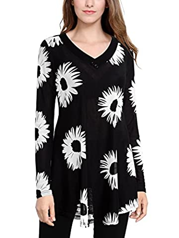 BAISHENGGT Women's Mesh Floral Print V Neck Long Sleeve Flared Swing Tunic Top Black-2 Large