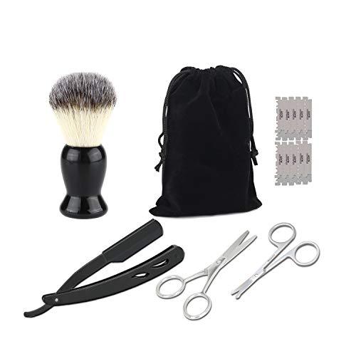 Bartpflege Set Für Männer, Bartkamm (Birnbaumholz)+ Bartschere+ Eine Nasenhaarschere+ Rasiermesser + 10 Doppelklingen- Das Beauty Geschenk Set Für Männer