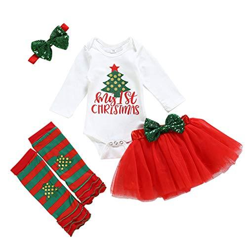Zegeey Baby MäDchen Weihnachten Bekleidungssets Langarm Jumpsuit Strampler Rock Tutu Haarband Outfits Set Weihnachtsdeko Insgesamt Party KostüM Festliche - Coole 80's Cartoon Kostüm