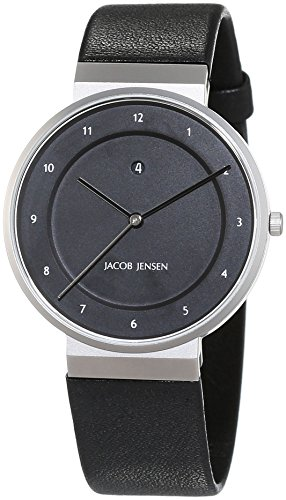 JACOB JENSEN Herren-Armbanduhr Analog Quarz Leder DIMENSION SERIES ITEM  NO.: 860