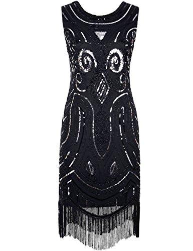 Kayamiya Damen Vintage 1920er Pailetten Art Deco Inspired Fransen Gatsby Flapper Kleid S Schwarz