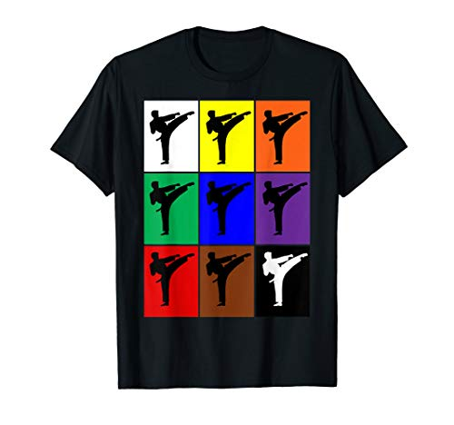 Karate Gürtel Farben Pop Art Stil Lustige Kampfkünste T-Shirt -