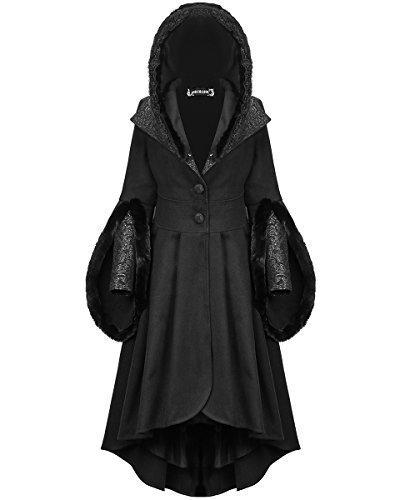 Dark In Love Damen Gotik Mantel mit Kapuze Jacke schwarz Steampunk Viktorianisch Kunstpelz -...