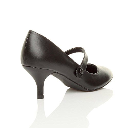Damen Hoher Absatz Mary Jane Formal Abend Party Ball Pumps Schuhe Größe Schwarz Matt