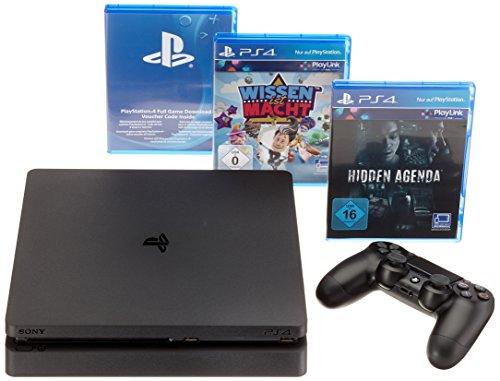 Sony Playstation 4slim avec la connaissance est pouvoir, Hidden Agenda & That's You. 500GB, Black, châssis en D