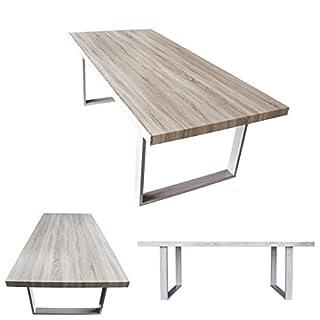 MOG Esszimmertisch 200x100 cm Kufentisch Holztisch Esstisch Kufengestell Tisch mit Tischplatte und Kufen - alle Größen und Farben (Sanoma Eiche + Sanoma Eiche)