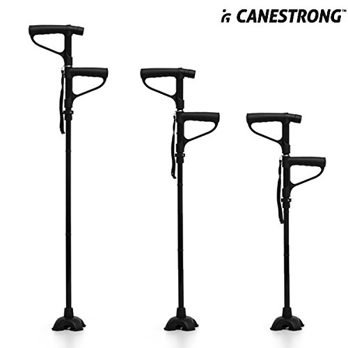 Hasendad Canestrong - Baston plegable con LED y doble asa, color negro