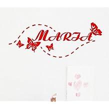 Vinilo decorativo pegatina pared, cristal, puerta (Varios colores a elegir), nombre personalizado-infantil- mariposa