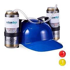 Idea Regalo - relaxdays- Cappello Porta Birra, Elmetto con Cannuccia, per 2 Lattine, Gadget per Carnevale, Calcio, Feste Adulti, Blu, 13 x 32 x 28 cm, 10022789_45