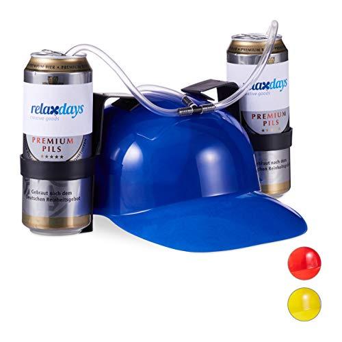 Relaxdays 10022789_45 Party Trinkhelm, Helm mit Schlauch, für 2 Dosen Bier, Spaßartikel Fasching u. Fußball, lustiger Bierhelm, blau, Unisex– Erwachsene 13 x 32 x 28 ()